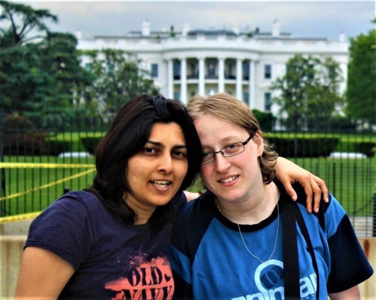 Bev & Shams Adventures outside the White House in Washington DC