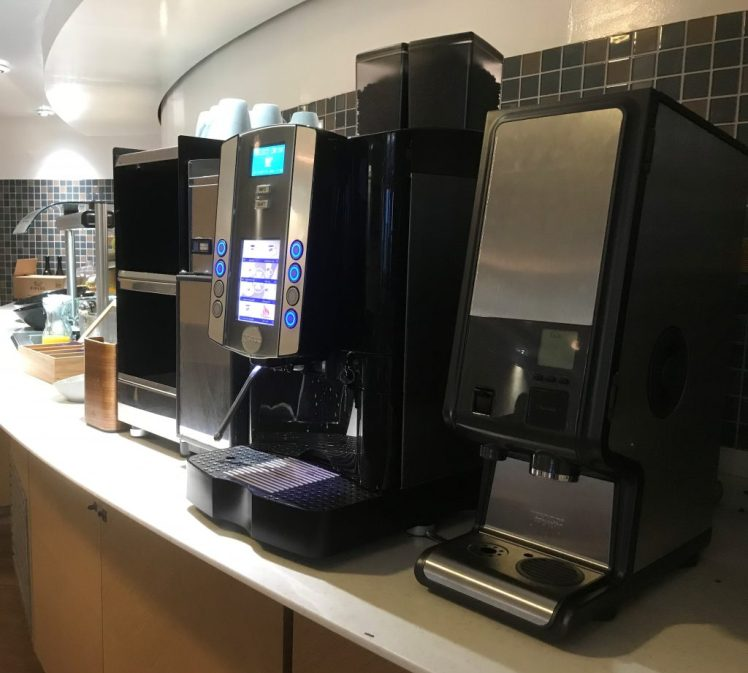 The tea and coffee making facilities in the Premium Lounge on board the DFDS