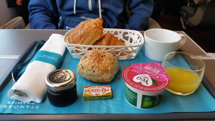 Our light breakfast, in Premier class, on the Eurostar - Eurostar review