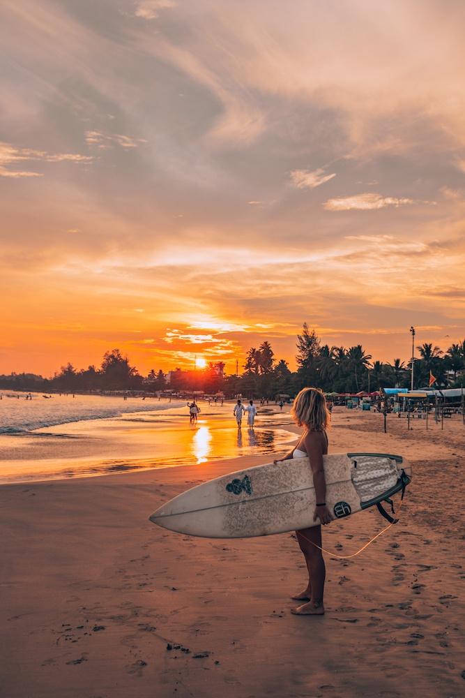 Sun setting on a Surfer in Sri Lanka - by Greta Travels