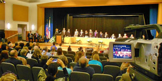 Newly elected City officials are inaugurated in ceremonies at Beverly High School