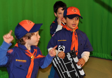 "Cub scouts prepare to ""roll camera"" during a visit to BevCam"
