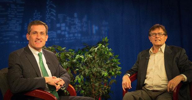 Mayor Mike Cahill on the set with host Walt Kosmowski