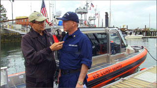"Walt conducts an interview during ""Safe Boating"" Day"