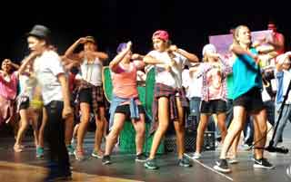"A group of youngsters perform in the BHS auditorium during the ""Lip Sync"" competition"