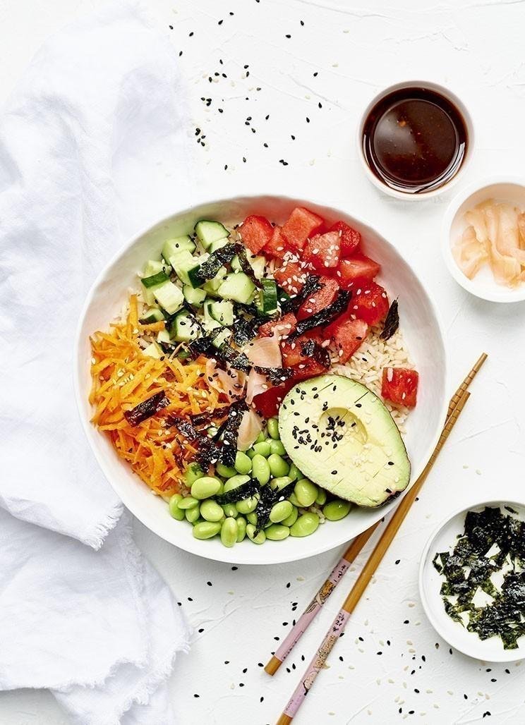 recette végétalienne Pokebowl aux edamames et à la pastèque