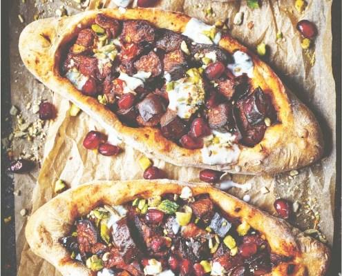 recette végane pizza turque aux aubergines