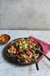 veganistisch recept salade met romescodressing