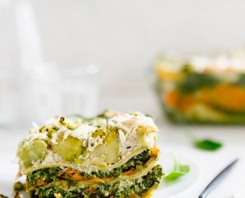 vegan lasagne met spruitjes en gerookte zalm