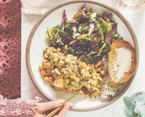 veganistisch recept kikkererwten Alfredo