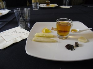 Chef Ouitta Michel prepared a tasting flavor wheel designed for the new Woodford Reserve Rye.