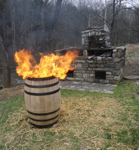 Master Distiller Chris Morris showed how barrels used to be toasted and charred by hand using straw.