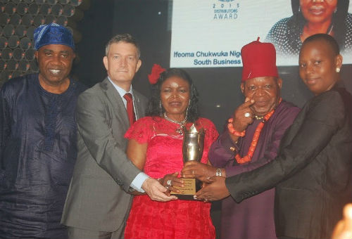 (L-R) Sales Director Nigerian Breweries Plc, Hubert Eze, Managing Director, Nicolaas Vervelde, National Champion of the Distributors Award 2015, Dem Joy Igwe, Sir Gabriel Igwe, of Ifeoma Chukwuka Nigeria Limited, and the Nigerian Breweries Managing Director' Wife, Clementine Vervelde at the Distributors' Award presentation tagged Partnering for Greatness in Lagos