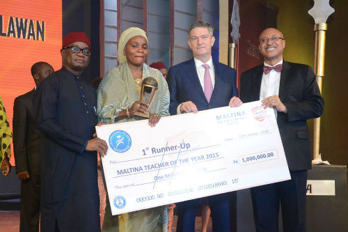 Mrs. Binta Mohammed Lawan of Federal Government College Maiduguri, Borno State, First Runner-Up, Maltina, Teacher of the Year Award, Mr. Nicolaas Vervelde, Managing Director, Nigerian Breweries,Mr. Pat Utomi, one of the judges