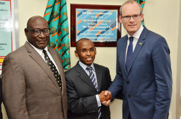 Chairman, Guinness Nigeria Plc, Babatunde Savage, Managing Director/Chief Executive Officer, Guinness Nigeria Plc, Peter Ndegwa and Irish Minister for Agriculture, Food and the Marine, Simon Coveney TD, during the visit of the Irish Minister to Guinness Nigeria in Lagos