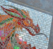 Red Welsh Dragon Mosaic