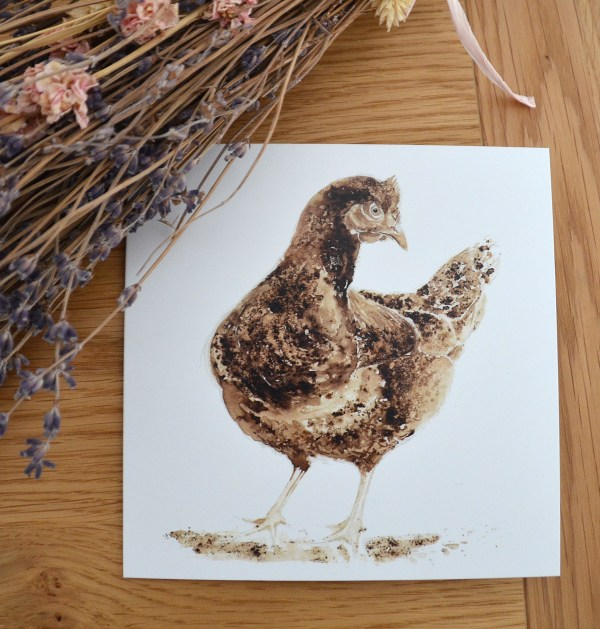 Brown hen greetings card