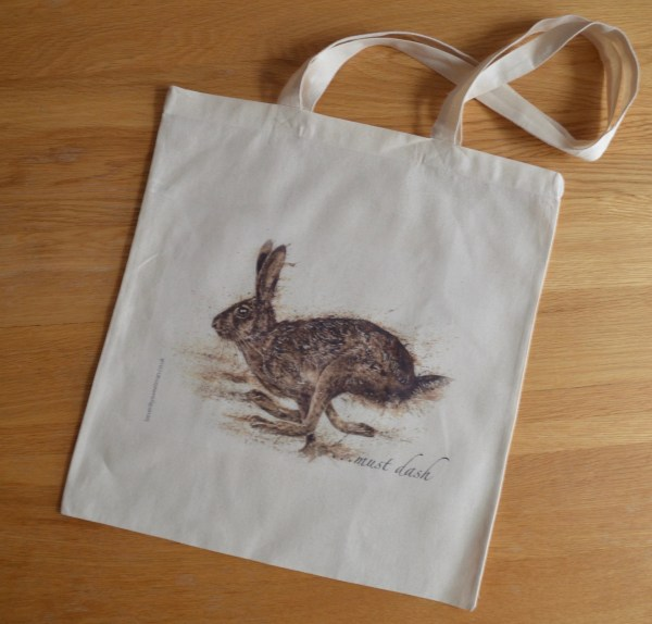 Running hare cotton tote bag