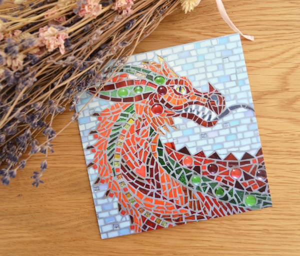 red welsh dragon mosaic greetings card