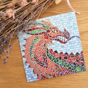 red welsh dragon mosaic greetings card