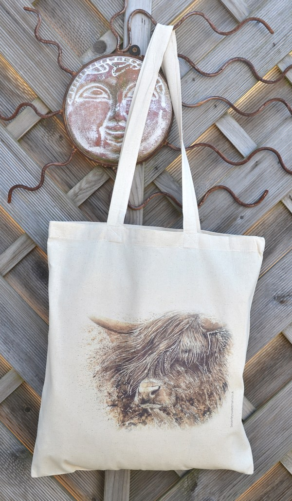 Highland cattle cotton tote bag