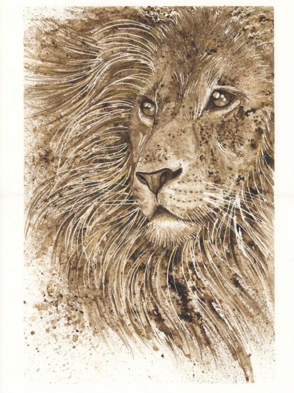 Lion walnut ink painting