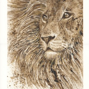 Lion walnut ink painting