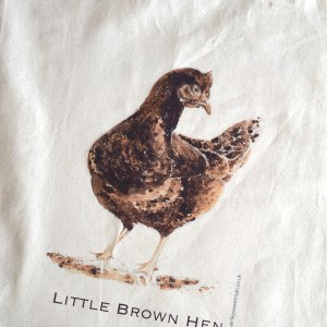 Brown hen cotton tote bag