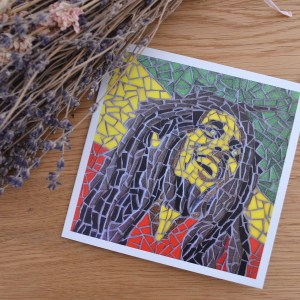 Bob Marley mosaic greetings card