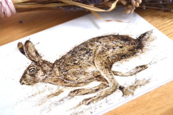 Running hare Greetings card