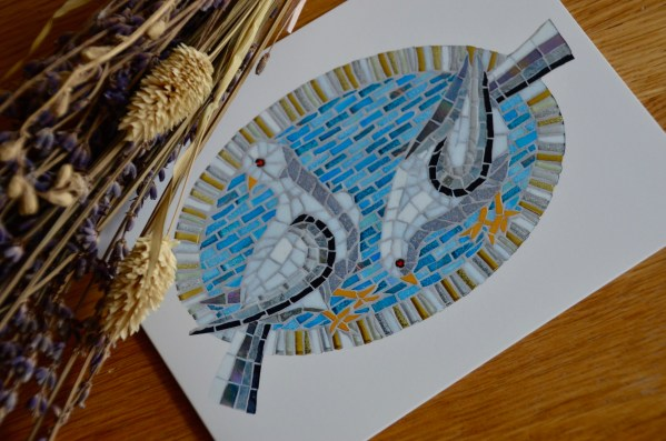 Dove mosaic greetings card