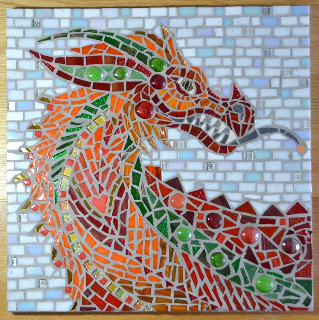 Red welsh dragon mosaic wall art