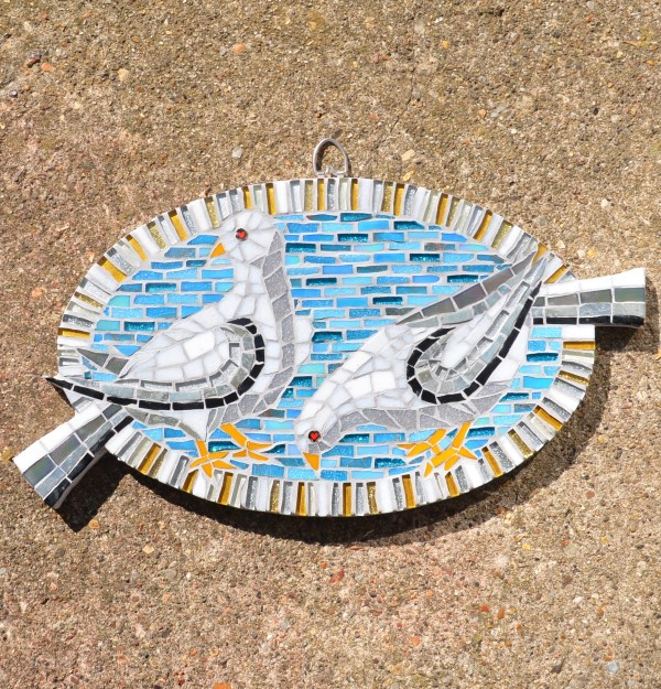 Blue and white dove mosaic