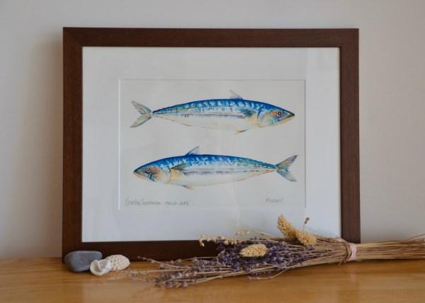 Two Mackerels watercolour painting