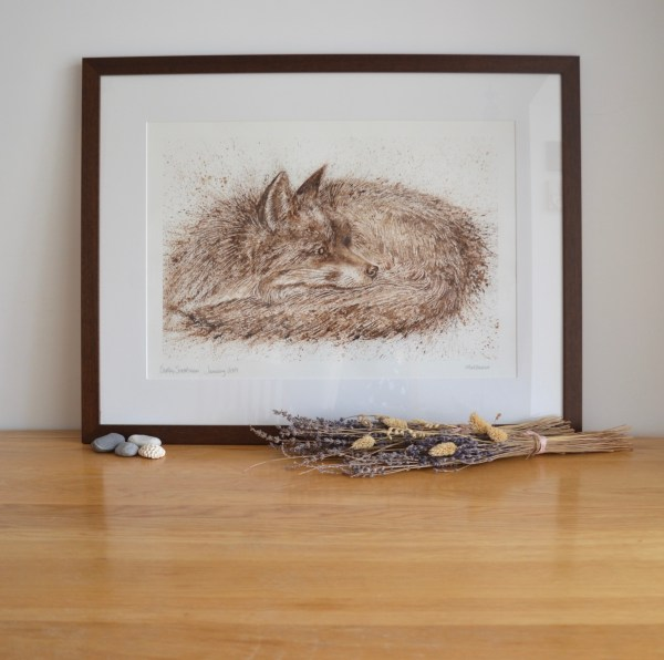 Sleeping Fox walnut Ink painting