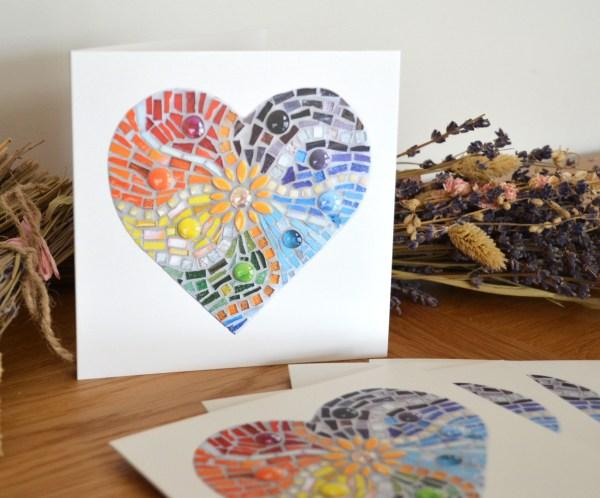 Rainbow Hearts Mosaic greetings card