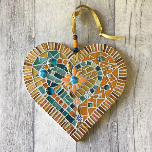 Heart shaped mosaic orange and blue details