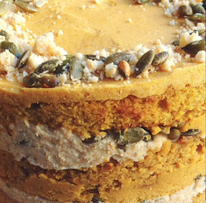Extreme closeup of the Momofuku Milk Bar pumpkin cake.