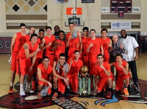 Normans put up the #1's while posing with the championship trophy.