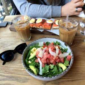 Ahi Tuna and Comte salad and the Salmon Tartine paired with La Colombe iced coffee.