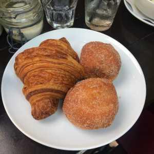 Republique's freshly baked butter croissant and vanilla beingets. Photo by: JULIETTE DEUTSCH
