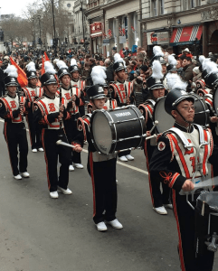The drum line marches in the New Years Day parade. Photo courtesy of Amanda Lee.