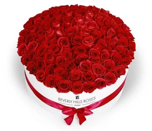 A beautiful luxury red rosebox from BeverlyHillsRoses Dubai