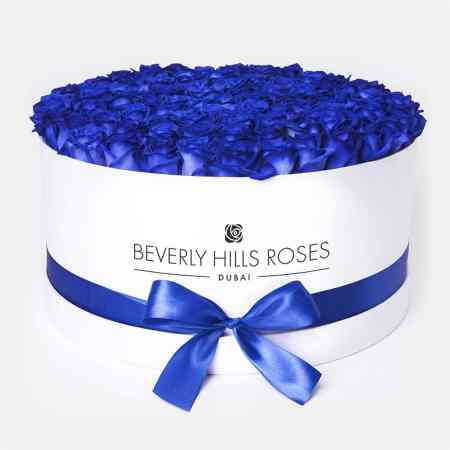 Large white rose box in blue lagoon