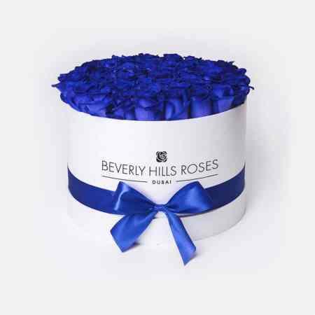 Medium white rose box in blue lagoon