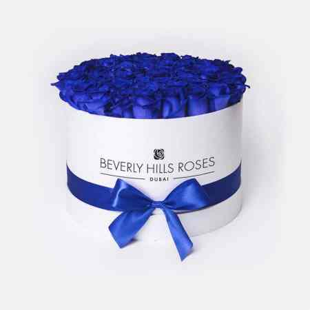 Medium white rose box in blue lagoon