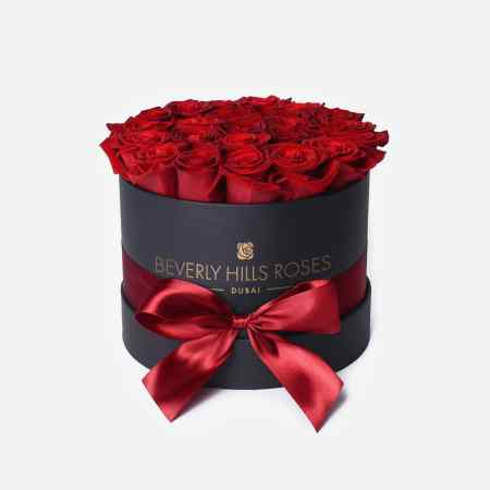 "Boxed Roses ""Hollywood"" in Small Black Rose Box"