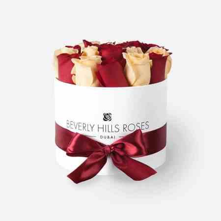 Small white box in cherry vanilla