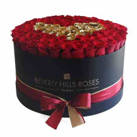 Large black rose box in love is gold
