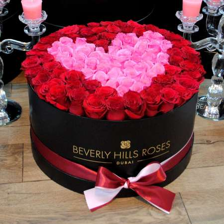 Large black rose box in passion